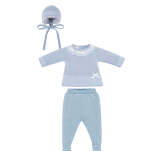 Blue Knitted 3 Piece Babysuit
