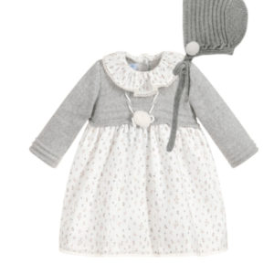Gray set dress and bonnet by Foque