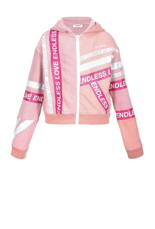 Cotton sweat jacket with lettering bands 1A11BD