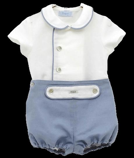 White & Blue Shorts Love Set