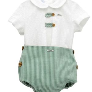 White & Green Shorts Set