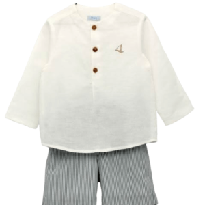 Boys Ivory & Blue Shorts Set