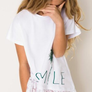 Asymmetric T-shirt with lace