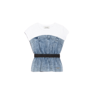 Denim top with gathering