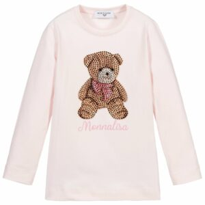 Monnalisa Kids Diamanté Bear Top