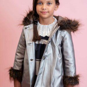 Foque Metallic Coat with Hood & Fur
