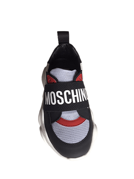Moschino Kids Contrast Trainers Black & Red
