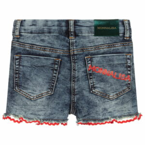 Monnalisa Kids Denim Shorts. Wonderfully comfortable denim shorts with five pockets, featuring hyperfeminine details and the Monnalisa logo on the applied pockets and on the visible label. These blue denim shorts from Monnalisa will bring a touch of Italian charm to your little one's summer edit.