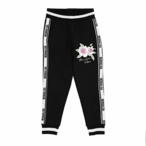 Monnalisa Kids Floral Jogging Sweatpants. Sporty-chic jogging pants, with side bands and lower, for leisure without giving up style. The waistband and ankle cuffs are ribbed and stretchy and there are pockets at the sides.