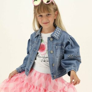 Monnalisa Kids Denim Daisy Jacket.Monnalisa Kids Denim Daisy Jacket. Light blue denim jacket for little and teen girls by Monnalisa, an alternative to the classic denim jacket, this short version features gigot sleeves, with a cute metallic Disney© Daisy Duck appliqué on the back.