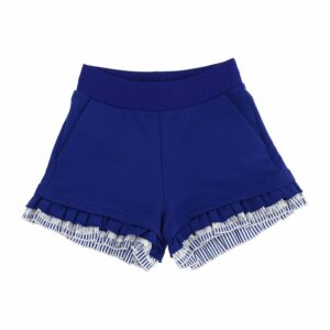 Monnalisa Kids Frill Shorts. This comfortable fleece shorts feature cute thin-striped weft-cut fabric ruffles on the hem. Soft and stretchy, the cotton shorts have slanted pockets on the front. There are pockets on the back with blue and white lace ruffle detail with the signature Monnalisa logo in white.