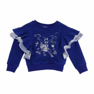 Monnalisa Kids Frill Sweatshirt. Your little one is sure to instantly fall in love with this playful navy sweater from Monnalisa, printed with one of Disney®'s most beloved characters. Made from a cotton blend with added stretch, it has frill trims at the shoulders and crystal embellishments for a sparkling finish.