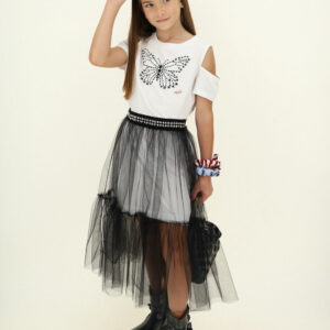 Monnalisa Kids Tulle Dress. Teen girls two-in-one dress from Monnalisa. There is a long black tulle skirt that is worn with a white cotton jersey T-shirt style dress. The midi dress has a black beaded butterfly on the front and open shoulders.