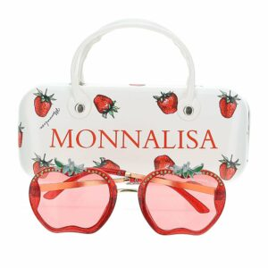 Monnalisa Kids Strawberry Sunglasses. These fruit-shaped sunglasses from Monnalisa will have your little one looking sweet as pie. Studded with crystals, they're made from glittery red acetate and work pink-tinted lenses that will protect developing eyes from the sun.