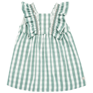 """Paz Rodriguez Dress """"Provenza"""". Dressed in plaid pattern fabrics, sleeveless, with frills on the shoulders and gathered """"bee's nest"""". Square neckline and cut in the chest area, very light and comfortable, so as not to limit your girl's movements. Fully lined with cotton lining, to be softer for the delicate skin of the little ones."""