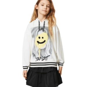 Twinset Kids Hoodie Maxi Photo. Oversize fit cotton hoodie with maxi photo print and rhinestones, hood and drawstring with logo laces. Bold and fun, this Girls' hoodie with maxi photo print and rhinestones will add an urban touch to your little one's wardrobe. Oversized and made of cotton, this hoodie features logo laces and drawstring hood, rib knit bottom with contrasting stripes. Perfect for school time and playtime.