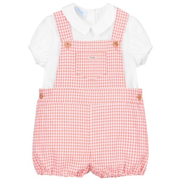 Foque Orange Dungaree Set. Orange and white dungaree set for baby boys by Foque. The lightweight white cotton shirt has slightly puffed sleeves with gently elasticated cuffs. The orange and white gingham dungarees are made in lightweight seersucker with a soft lining for comfort.