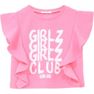 """Liujo Kids Neon Pink T-Shirt. Neon pink t-shirt with frills on the side. On the front, white print """"Girl Z Club"""", perfect t-shirt to match neon pink shorts or jeans. Super practical and lightweight t-shirt for girls who like to play."""