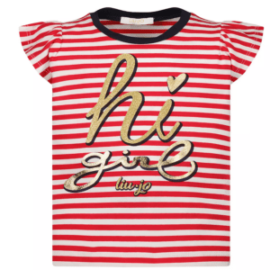 """Liujo Kids Striped T Shirt . striped t shirt, sailor style. Very practical and comfortable cotton t-shirt, the sleeves are in the shape of a frill. It stands out on the front """"hi Girl Liujo"""", in shiny gold. Perfect for hot summer days and ideal to match with comfortable shorts."""