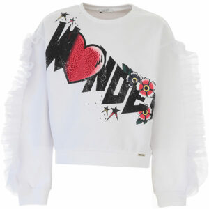 """Liujo Kids Sweatshirt """"Wonder"""". Long-sleeved sweatshirt with round neckline. Rhinestone details on the front and light and delicate frills on the sleeves. Elasticated waist and cuffs for added comfort."""