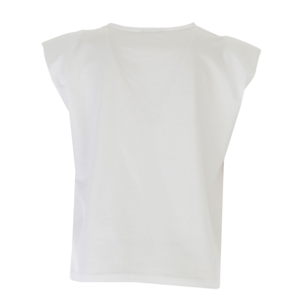 """Liujo Kids T-shirt """"Wonder"""". Sleeveless t-shirt, with shoulder pads, for an elegant silhouette. Perfect for wearing with shorts or jeans. . Rhinestone details on the front."""