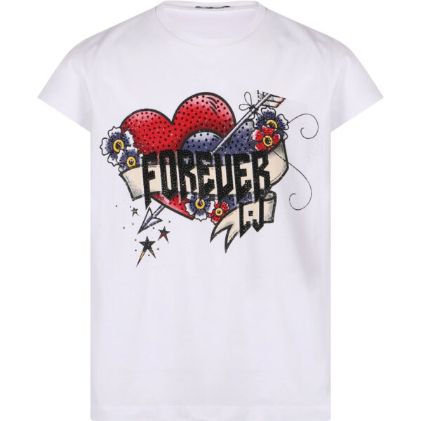 """Liujo Kids T-shirt """"Forever"""".White cotton t-shirt, practical and comfortable. Perfect for wearing with shorts or jeans. Rhinestone details on the front."""