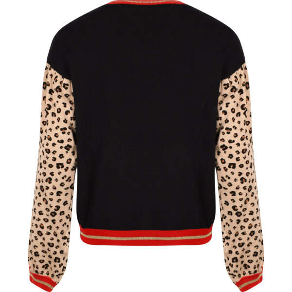 Liujo Kids Leopard Print knitwear. Knitted sweater, perfect for everyday style. In the navy blue, the sequins and their shine stand out. The sleeves, slightly tufted on the shoulders, contrast with their brown color and animal print.