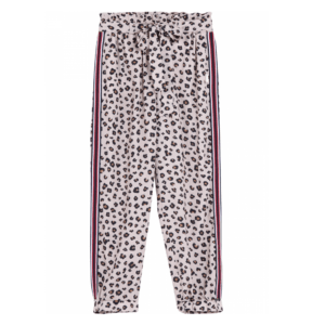 Liujo Kids Leopard Print Pants.fluid and light pants, with leopard print; in contrast, blue and red strips on the side. A must have of the season. High waist, fabric belt, two side pockets. The most comfortable pants in this collection!
