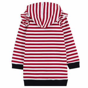 """Liujo Kids Striped Dress . Striped dress, sailor style. Very practical and comfortable cotton dress, with hood and small frills on the shoulders. The word """"Shine"""", in bright red, stands out on the front. For greater comfort and contrast, the cuffs are tighter and in navy blue, very marine style. Perfect for the coolest summer afternoons."""
