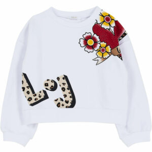 """Liujo Kids Sweater Heart. Practical and comfortable brushed cotton Sweater. With the design of a heart and beautiful flowers, which contrast print and applied rhinestones of the heart. """"Love"""" is the motto of this sweater that your girl will want to wear every day. Perfect to match denim pants or short."""