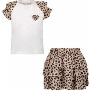 Liujo Kids Set T-Shirt & Skirt. Two-piece set; white t-shirt with frill sleeves and animal pattern. Skirt with frills and animal pattern.