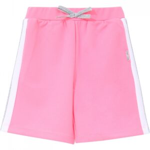 Liujo Kids Neon Pink Shorts. Long sports shorts, in neon pink, with a white and silver stripe on the side. The waist is adjustable. Super practical and lightweight shorts for girls who like to play.