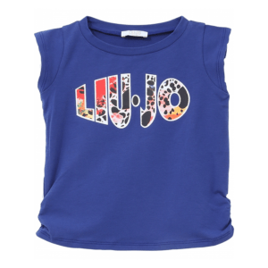 Liujo Kids Monogram Colorful T-Shirt. LIU JO cotton sleeveless t-shirt with contrasting Liujo Jo logo colorful. Super practical and lightweight t-shirt for girls who like to play.