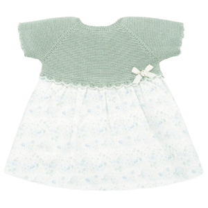 """Paz Rodriguez Dress """"Savia"""". Baby girls mint green knitted dress with a floral print by Paz Rodriguez. This pretty design has a knitted top half and a smooth cotton lower half and is fully lined with back button fastening. Comes with knickers."""