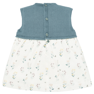"""Paz Rodriguez Set Dress """"Provenza"""". Sleeveless square neckline dress. This beautiful dress is practical and fresh, with the top in knitted cotton; bottom in soft cotton fabric, with floral print. Detail of application in mother of pearl. Comes with knickers."""