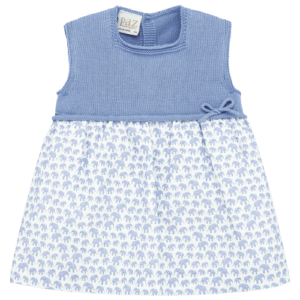"""Paz Rodriguez Dress """"Sabana"""". Sleeveless square neckline dress. This beautiful dress is practical and fresh, with the top in knitted cotton; bottom in soft cotton fabric, with with a fun print, little blue elephants. Detail of application in mother of pearl. Comes with knickers."""