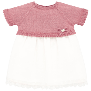 """Paz Rodriguez Dress """"Cascada"""".Baby girls dress by Paz Rodriguez. The pink bodice is knitted in pink cotton with delicate embroidery and back button fastening. The lower half has a white voile spotted overlay, with a double layer lining trimmed with lace. Comes with knickers."""