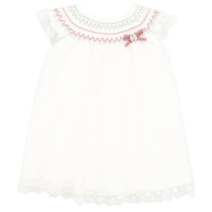 """Paz Rodriguez Set Dress """"Cascada"""".Baby girls white cotton and organza dress with lace trims by Paz Rodriguez. The bodice is smocked in green and pink embroidery. The sheer overlay has a spot pattern and the underlayers are made in soft cottn. Comes with knickers."""