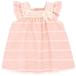 """Paz Rodriguez Dress """"Vera"""". Baby girls pink and ivory dress by Paz Rodriguez. Made in a lightweight viscose blend and fully lined, this pretty design has lace and embroidered trims, with button fastening on the back. Comes with knickers."""