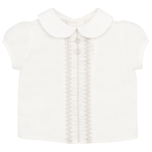 """Paz Rodriguez Set """"PazV21"""". Baby boys ivory linen shirt and beige shorts set by Paz Rodriguez. The shirt fastens on the back with buttons and there is a rounded collar and beige embroidery on the front. The beige shorts have an elasticated waistband and leg holes, and are fully lined."""