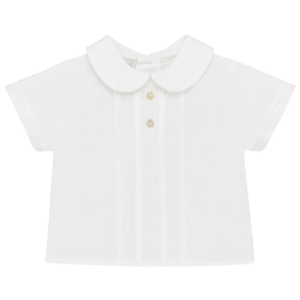 """Paz Rodriguez Set """"Marfil"""". Baby shirt with short sleeves cut with little jars on the front and adornment of the buttons. There are buttons at the back.Short jacquard pants. With mother-of-pearl buttons on the front, decorative. Adjustable elastic waist."""