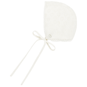 """Paz Rodriguez Bonnet """"Marfil"""". Ivory bonnet for baby boys and girls by Paz Rodriguez, made in jacquard fabric. It has a lightweight cotton lining, with a lace trim and ribbon ties that fasten under the chin."""