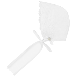 """Paz Rodriguez Bonnet """"Horizonte"""". Ivory bonnet for baby girls by Paz Rodriguez, made in a soft fabric and have a delicate embroidery. It has a lightweight cotton lining, with a lace trim and ribbon ties that fasten under the chin."""