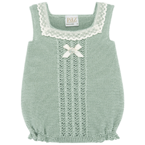 """Paz Rodriguez Babygirl Shortie """"Savia"""". Baby girls mint green knitted cotton shortie by Paz Rodriguez. Soft and stretchy, it has an ivory lace trim and sweet satin bow and logo button, with button fastenings between the legs."""
