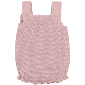 """Paz Rodriguez Shortie """"Bagan"""". Knitted shortie made of dry pink cotton for girls by Paz Rodriguez. Made of very soft and fine cotton, fabric detail on the neckline and straps. A small bow completes this cute shortie. In the leg areas it has a delicate elastic, to adjust without hurting your baby's legs. Soft and elastic, closes with buttons between the legs."""