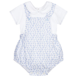 """Paz Rodriguez Set """"Sabana"""". A sweet two piece outfit for baby boys by Paz Rodriguez. The white cotton jersey bodysuit has a rounded collar, with blue stitching detail. The dungaree shorts are made in a soft cotton and linen blend, and have a blue elephant print against a white background."""