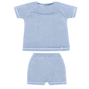 """Paz Rodriguez Set """"Horizonte"""". Adorable for baby boys, a soft blue knitted short set by Paz Rodriguez. Knitted from a soft cotton yarn with white trims, it has a subtle spotted design. The top has useful button fastenings on the back and the shorts have a comfortable stretchy waistband."""