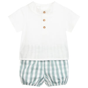 """Paz Rodriguez Set """"Provenza"""". Younger boys ivory shirt and green shorts set by Paz Rodriguez. The linen-blend shirt fastens on the back with buttons, and has decorative buttons on the front. The polycotton shorts are in a green and ivory check, and have an elasticated waistband and leg holes."""