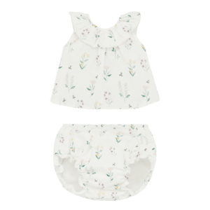 """Paz Rodriguez Set """"Provenza"""".Little girls cotton short dress by Paz Rodriguez, with a green, pink and yellow floral print. Made in soft plumeti cotton with a pretty ruffle and pink grosgrain ribbon bow on the back, it is fully lined and has a concealed back button fastening. Comes with knickers."""