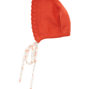 Foque Cherry Knitted Cotton Bonnet. The soft knitted cotton bonnet has a colored fabric ribbon which ties under the chin to fasten. FoqueCherry Knitted Cotton Bonnet is perfect for match with dresses.